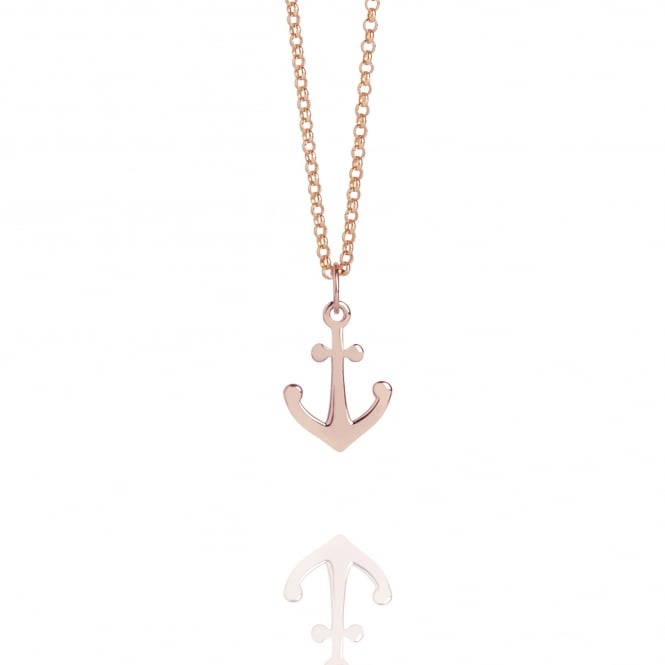 Hope Mini Anchor Charm Necklace Rose Gold