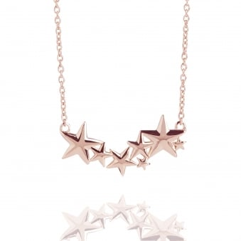 Multi Star Necklace Rose Gold