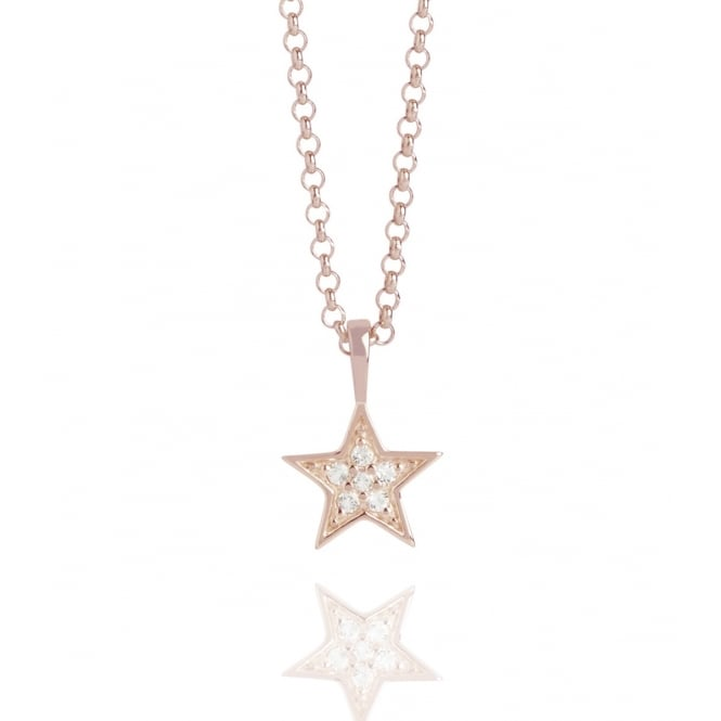 HOPE Tiny Star Topaz Necklace Rose Gold Clear
