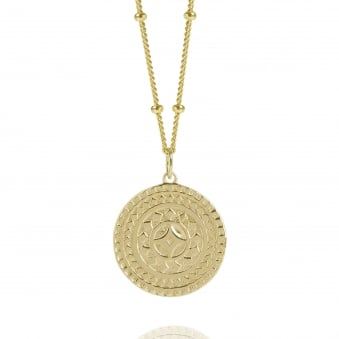 Gold Ancient Sun Disc Necklace With Bead Chain