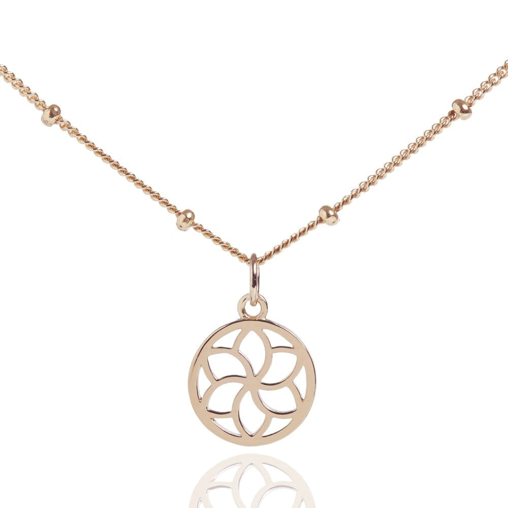 Mini Temple Flower Bead Chain Choker Necklace Rose Gold Rose