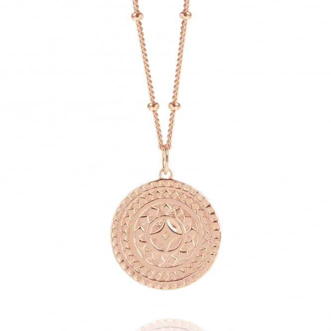 Life & Vitality Rose Gold Ancient Sun Disc Necklace With Bead Chain