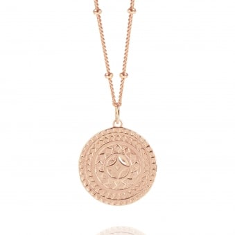 Rose Gold Ancient Sun Disc Necklace With Bead Chain