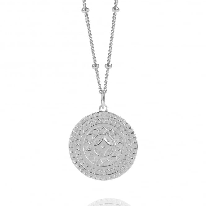 Life & Vitality Silver Ancient Sun Disc Necklace With Bead Chain