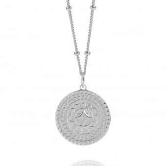 Silver Ancient Sun Disc Necklace With Bead Chain