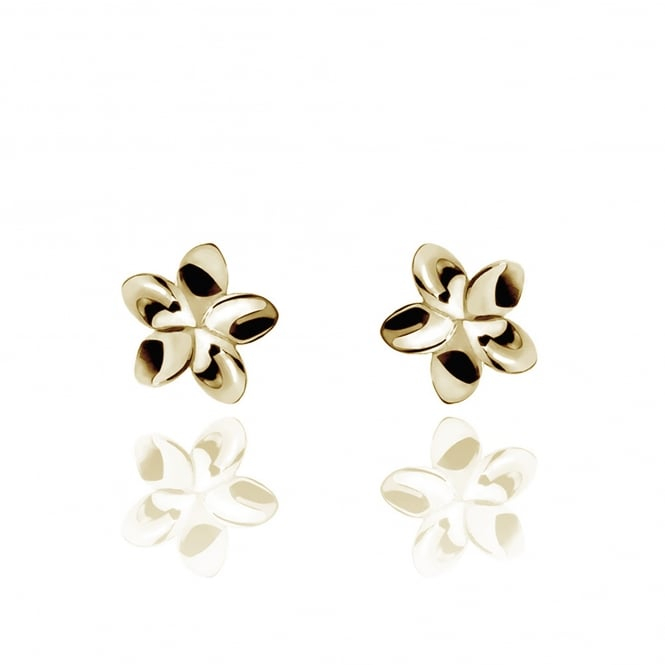 Life & Vitality Temple Flower Stud Earrings Gold