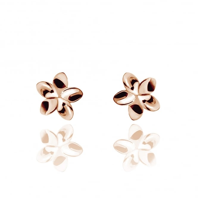 Life & Vitality Temple Flower Stud Earrings Rose Gold