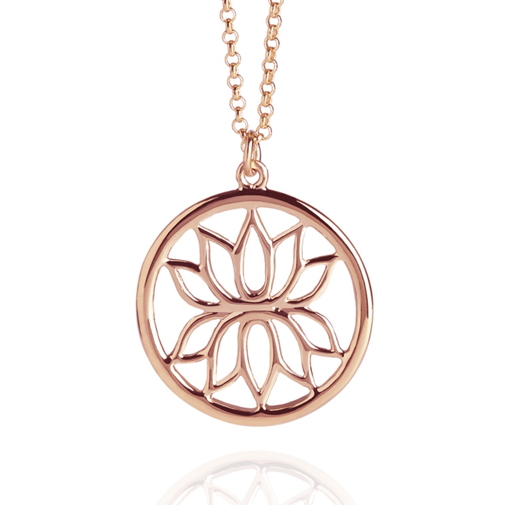 Lotus flower necklace rose gold necklaces from muru jewellery uk lotus flower necklace rose gold mozeypictures Image collections