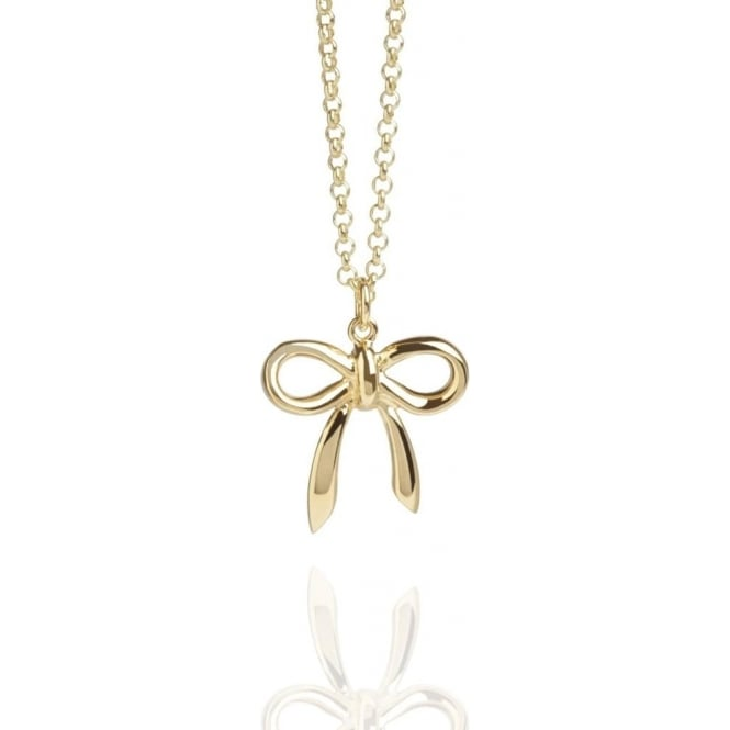 Love Bow Charm Necklace Gold