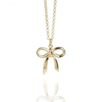 Bow Charm Necklace Gold