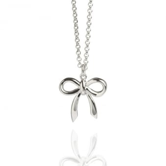 Bow Charm Necklace Silver