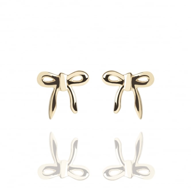Love Bow Stud Earrings Gold