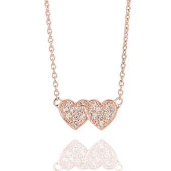 Double Heart Topaz Necklace Rose Gold