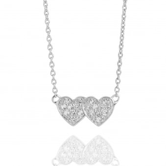 Double Heart Topaz Necklace Silver