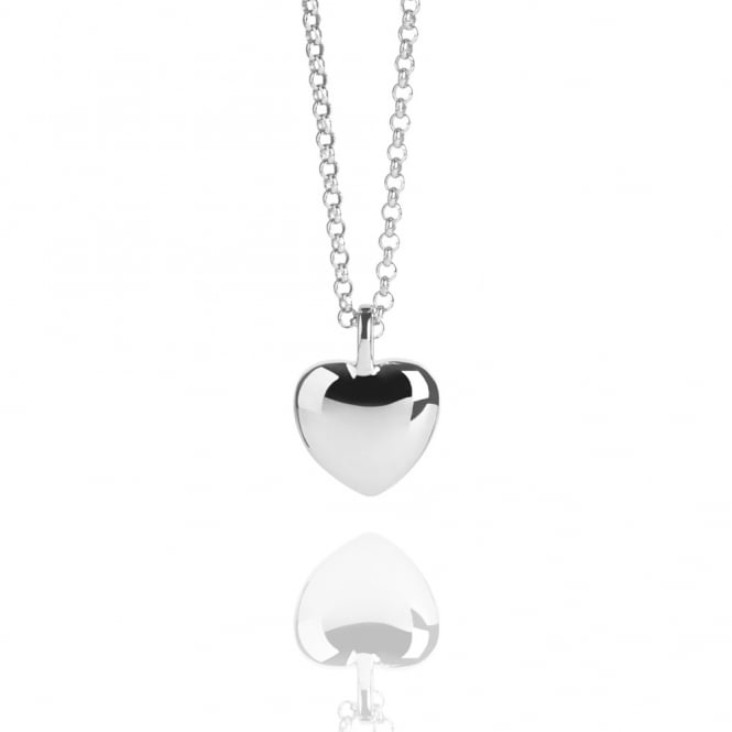 LOVE Heart Pebble Necklace Silver (Long)