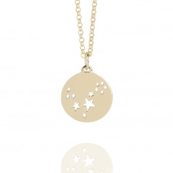 Pisces Star Sign Necklace Gold