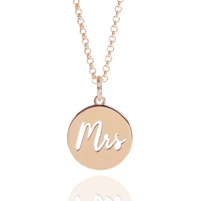 New Beginnings Mrs Charm Necklace Rose Gold