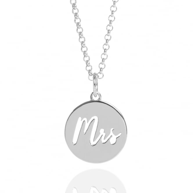 New Beginnings Mrs Charm Necklace Silver