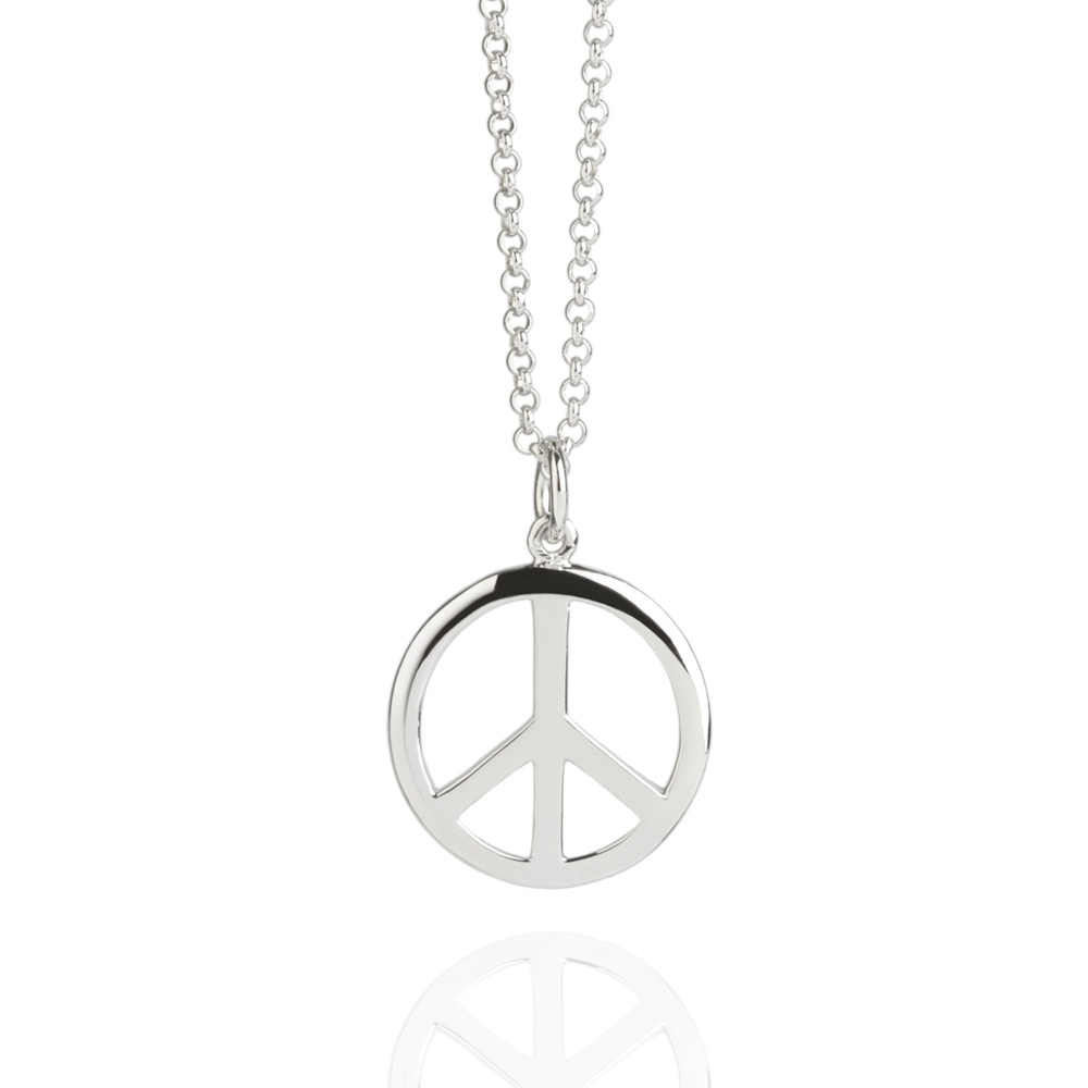 Peace sign necklace silver silver necklaces muru jewellery peace sign necklace silver buycottarizona Gallery