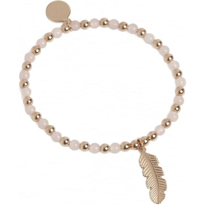 Positivity Feather Bracelet Rose Gold and Rose Quartz