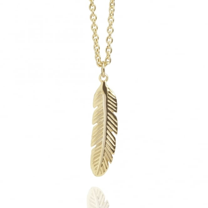 Positivity Feather Necklace Gold (Midi-Length)