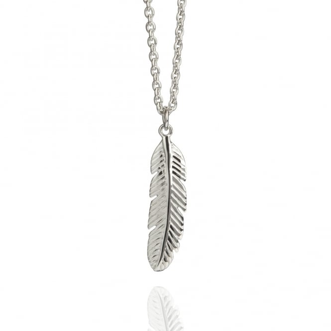 Positivity Feather Necklace Silver (Midi-Length)