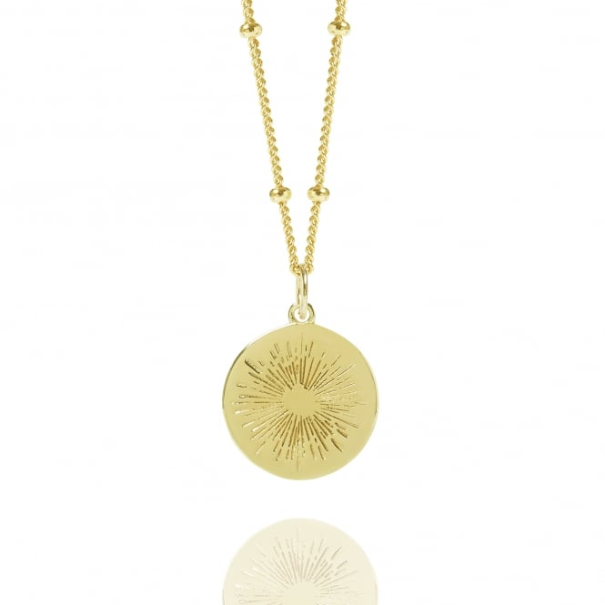 Positivity Gold Positive Energy Coin Necklace With Bead Chain