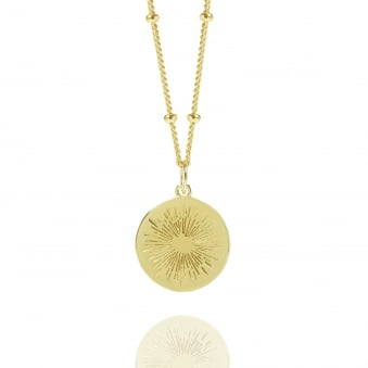Gold Positive Energy Coin Necklace With Bead Chain
