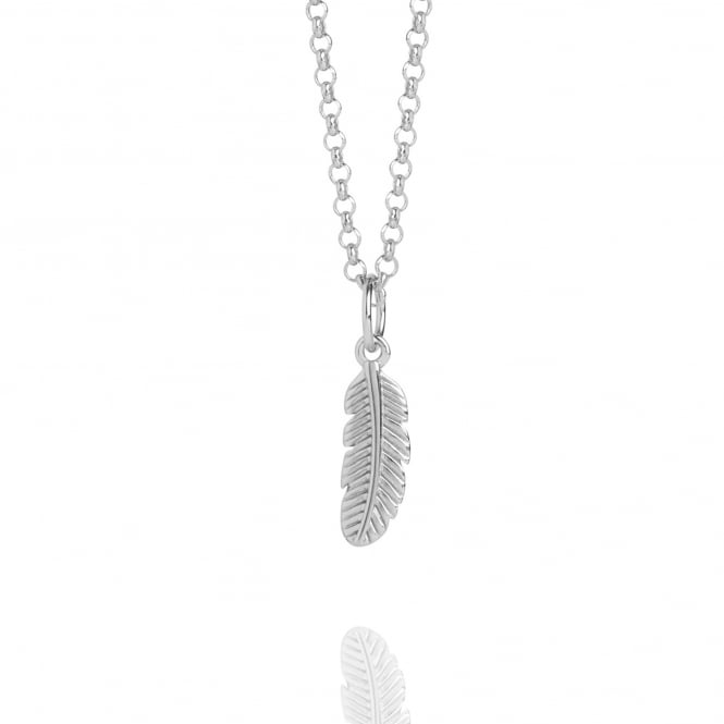 Positivity Mini Feather Charm Necklace Silver