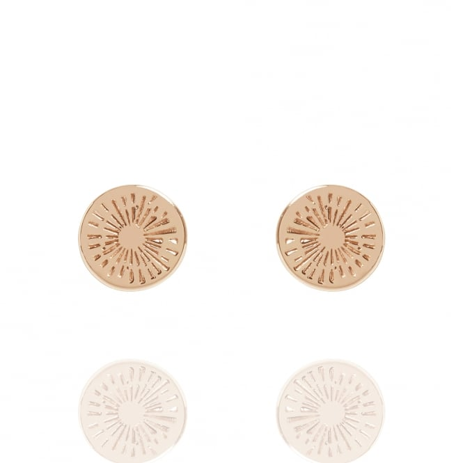 Positivity Positive Energy Coin Stud Earrings Rose Gold