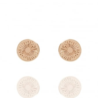 Positive Energy Coin Stud Earrings Rose Gold