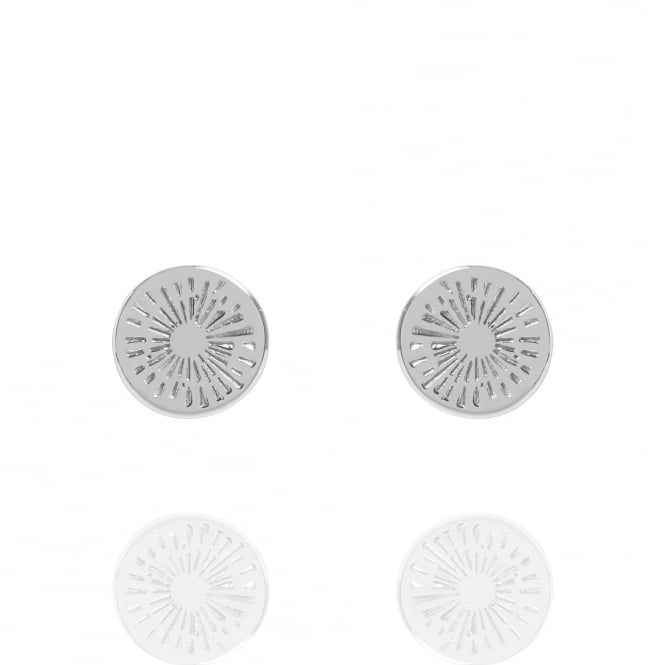 Positivity Positive Energy Coin Stud Earrings Silver