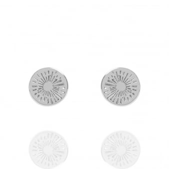 Positive Energy Coin Stud Earrings Silver