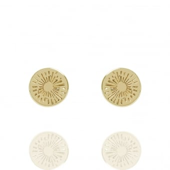 Positive Energy Coin Stud Earrings Gold