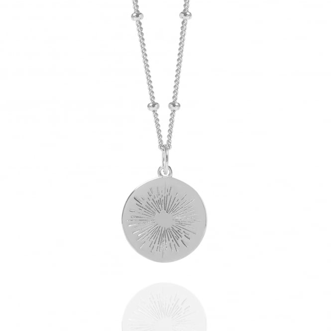 Positivity Silver Positive Energy Coin Necklace With Bead Chain