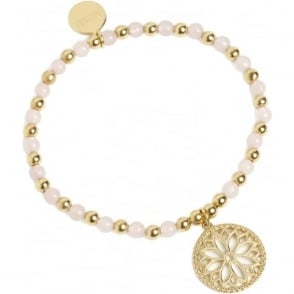 HARMONY AND WELLBEING Purity Mandala Bracelet Gold and Rose Quartz