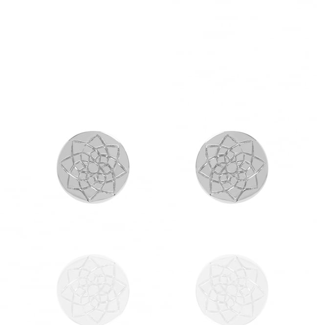 Prosperity Coin Stud Earrings Silver