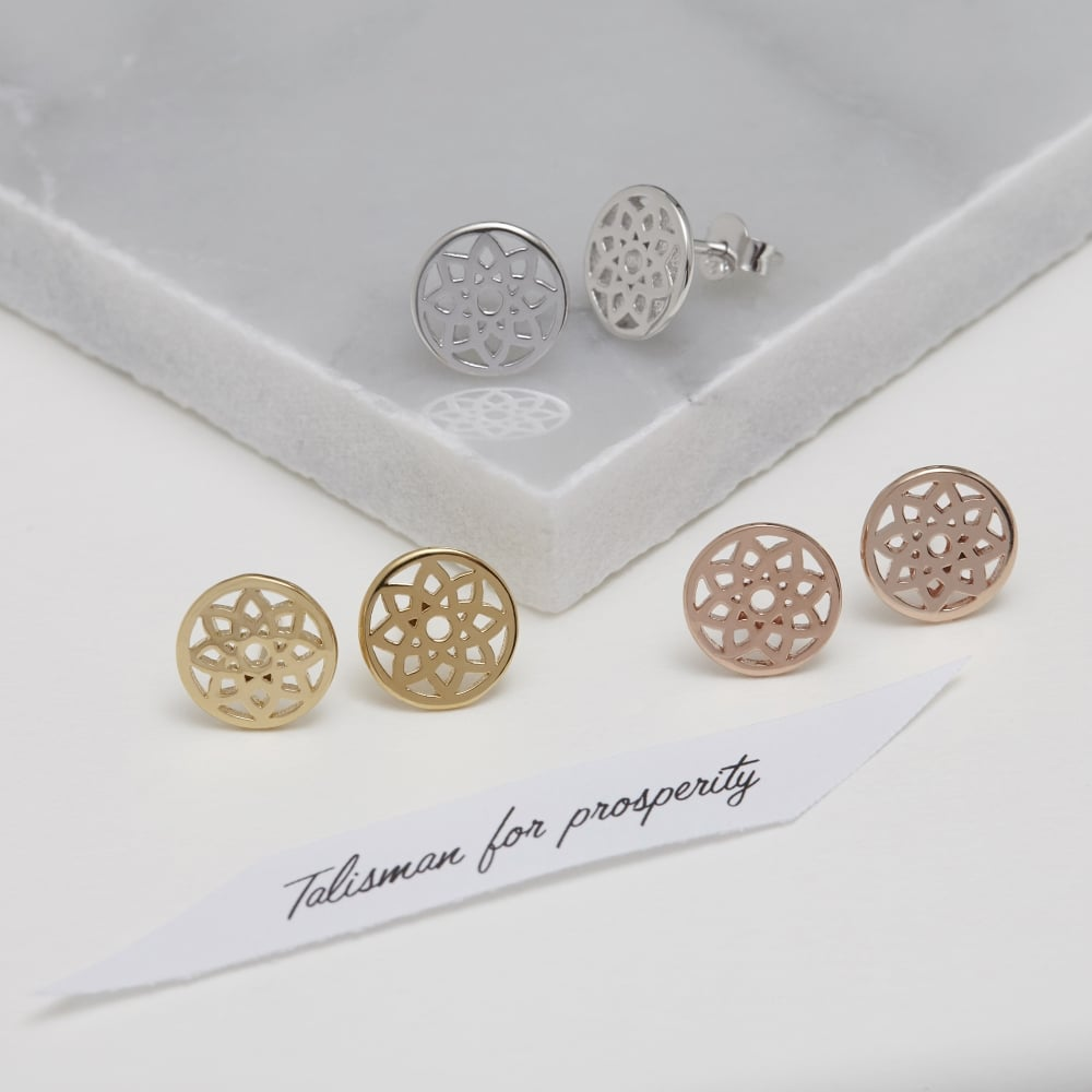 Prosperity Dreamcatcher Stud Earrings Rose Gold