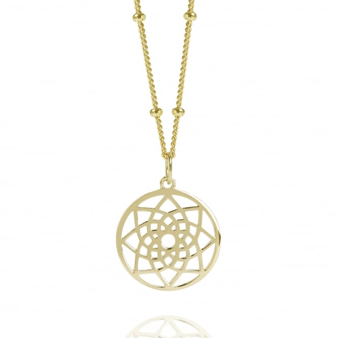 Prosperity & Success Gold Mini Prosperity Dreamcatcher Necklace With Bead Chain
