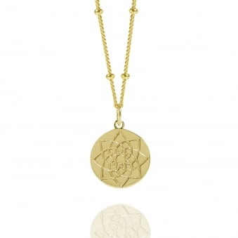 Gold Prosperity Coin Necklace With Bead Chain