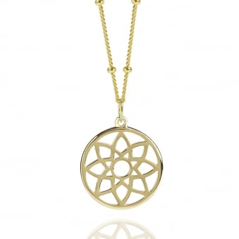 Gold Prosperity Dreamcatcher Necklace With Bead Chain