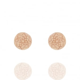 Prosperity Coin Stud Earrings Rose Gold