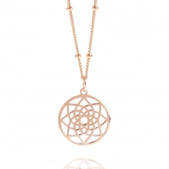 Rose Gold Mini Prosperity Dreamcatcher Necklace With Bead Chain