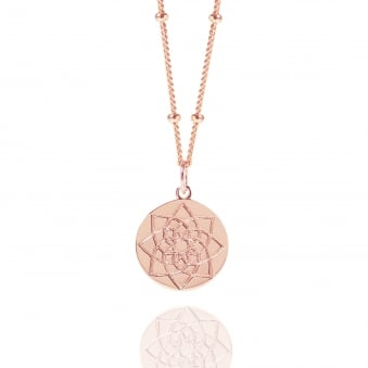 Rose Gold Prosperity Coin Necklace With Bead Chain