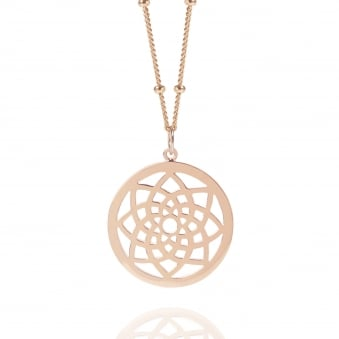 Rose Gold Prosperity Dreamcatcher Necklace With Bead Chain