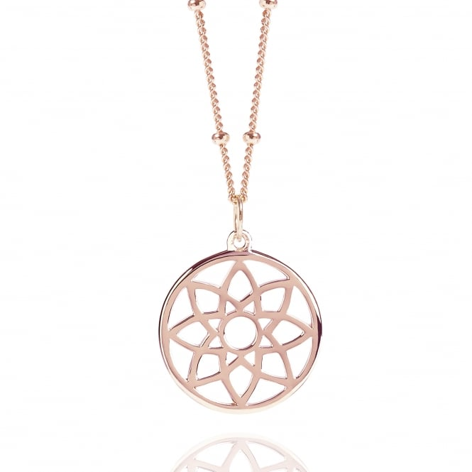 Prosperity & Success Rose Gold Prosperity Dreamcatcher Necklace With Bead Chain