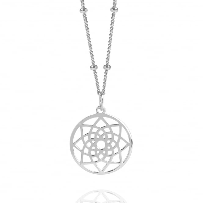 Prosperity & Success Silver Mini Prosperity Dreamcatcher Necklace With Bead Chain