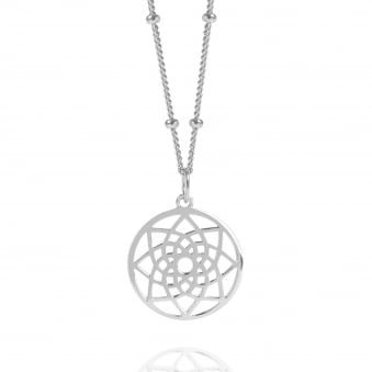 Silver Mini Prosperity Dreamcatcher Necklace With Bead Chain