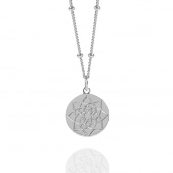 Silver Prosperity Coin Necklace With Bead Chain