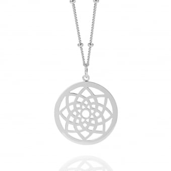 Silver Prosperity Dreamcatcher Necklace With Bead Chain